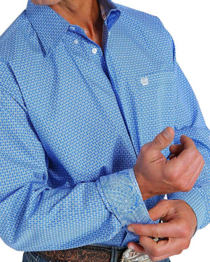 Men's Cinch Blue and White Pattern Shirt - Diamond K Country