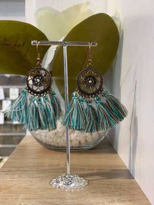 Turquoise/Brown Mix - Flower Tassel Earring