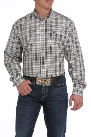 Men's Cinch Tencel Cream - Olive & Purple Plaid Long sleeve Shirt