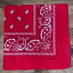 Red Paisley Design Bandana - 100% Cotton