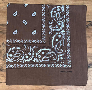 Brown Paisley Design Bandana - 100% Cotton