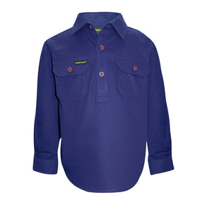 Kid's Hardslog 1/2 Button Shirt - Royal Blue