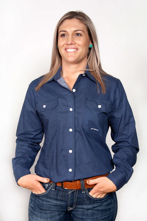 Women's Just Country Abbey Full Button Patterned Shirt Navy