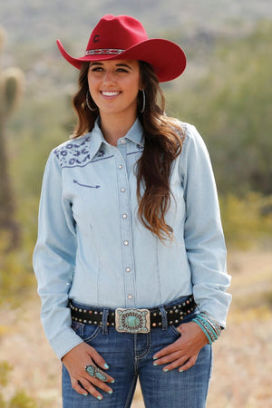 Women's Chambray Snap Long Sleeve Western Shirt