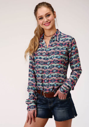 Women's Roper Five Star Aztec Blue Long Sleeve Shirt