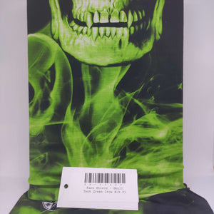 Face Shield - Skull Tech Green Crow