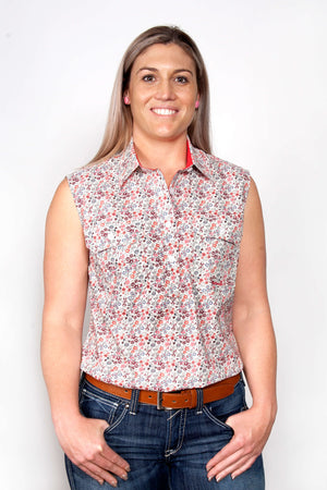 Women's Just Country Lilly Half Button Sleeveless Pattern Shirt