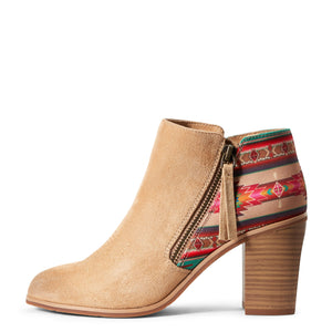 Women's Ariat Unbridled Kaylee Light Tan Suede and Aztec Boots