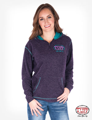 Cowgirl Tuff Purple Fleece with Turquoise Accents Hoodie