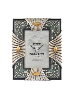 Pure Western Silver Look 4-Side Picture Frame