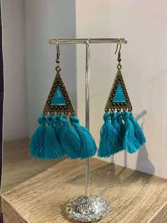 Bohemian Triangle and Long Tassel Colourful Earrings