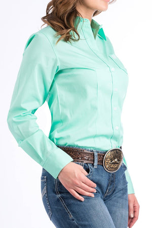 Women's Cinch Green Solid Shirt MSW9164028