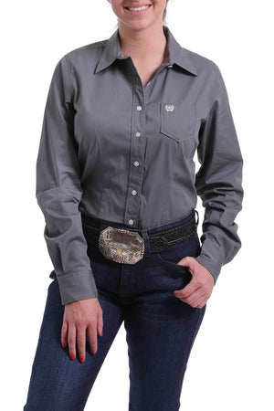 Women's Cinch Grey Solid Shirt MSW9164029