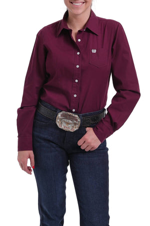 Women's Cinch Burgundy Solid Shirt MSW9164030