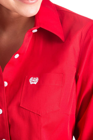 The Women's Cinch Red Solid Shirt MSW9164032