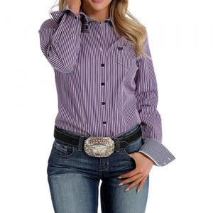 Women's Cinch Pink and Navy Striped Shirt