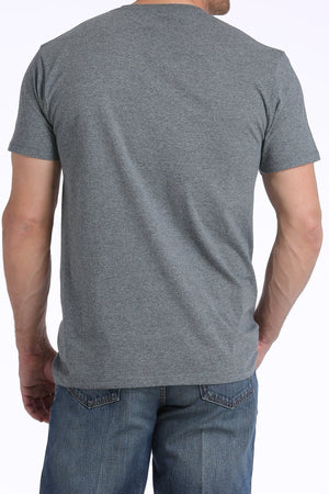 Men's Heathered Charcoal and Teal Cotton Poly Jersey Crew Neck Tee Shirt