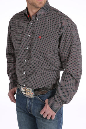 Men's Cinch Black and Red Honeycomb Geometric Print Shirt - Diamond K Country