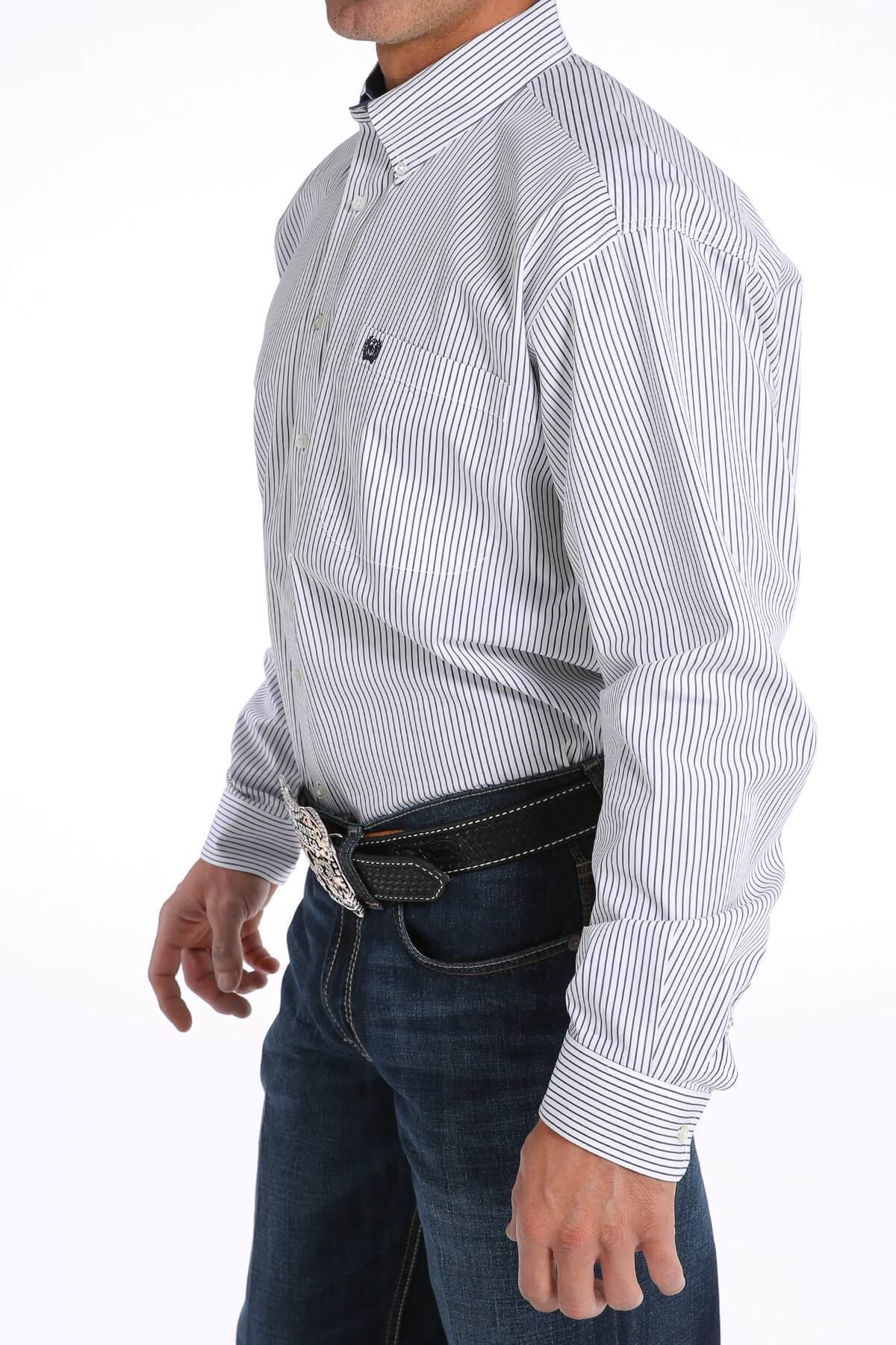 576263294 Men's Cinch White and Navy Striped Shirt - Diamond K Country