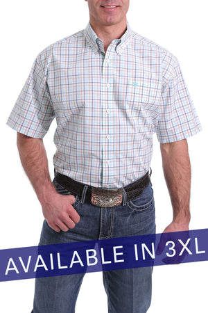 Men's Cinch White Plaid S/S Shirt - 3XL