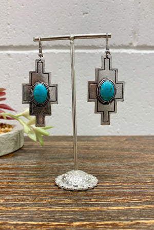 DKC Vintage Silver Geometric Turquoise Pendant Earrings