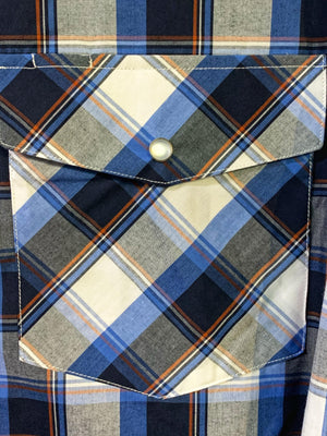 Men's Bisley L/S Blue & Black Western Check Shirt