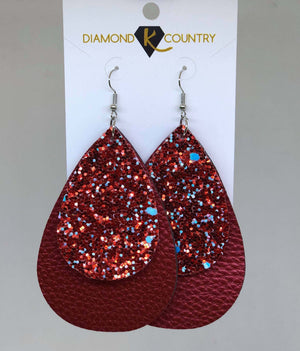 Red Glitter Layered Leather Drop Earrings