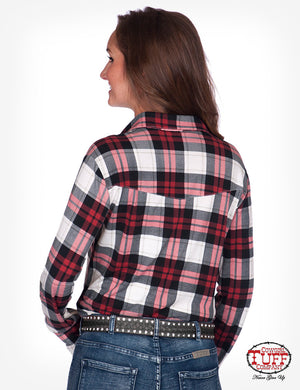 Women's Cowgirl Tuff - Red Plaid Sport Jersey Pullover Button-Up