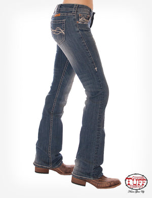 Women's Cowgirl Tuff Ride Fearless Bootcut Jeans- Natural Waist