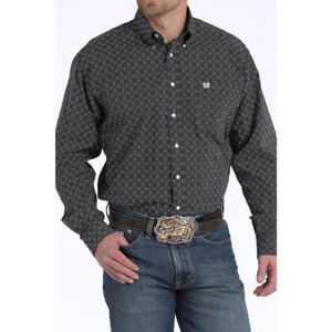 Men's Cinch White and Black Diamond Print Shirt