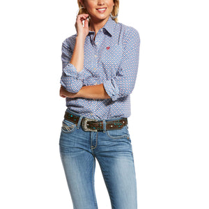 Women's Ariat Kirby Stretch Shirt - Classic Blue Print