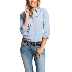 Women's Ariat Kirby Stretch Long Sleeve Shirt - Classic Blue Stripe