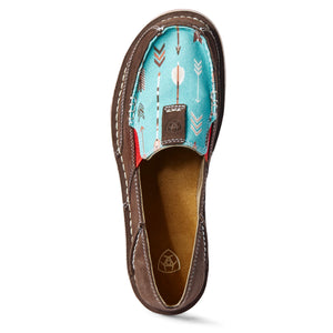 Ariat Women's Turquoise Arrows & Chocolate Suede Cruisers