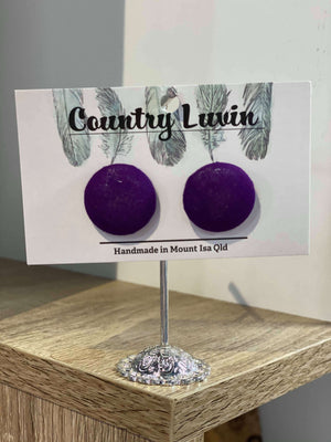 Country Luvin' - 23mm Fabric Button Earring – Purple