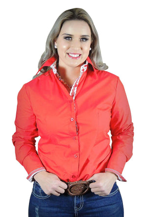 Hitchley and Harrow Women's Red Bacics with Dotty Collar Fitted