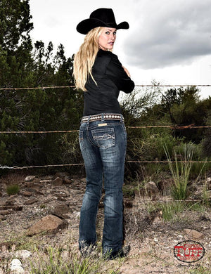 Women's Cowgirl Tuff Don't Fence Me In Jeans Dark