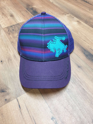 Cowgirl Tuff - Purple Serape Trucker Cap With Buckin' Horse Patch