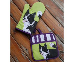 Thomas Cook Oven Mitt & Pot Holder Set- Border Collie