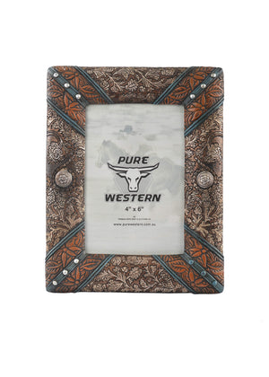 Pure Western Leather Look Concho Picture Frame