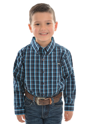 Boy's Pure Western Alfonso Check Button Down Long Sleeve Shirt