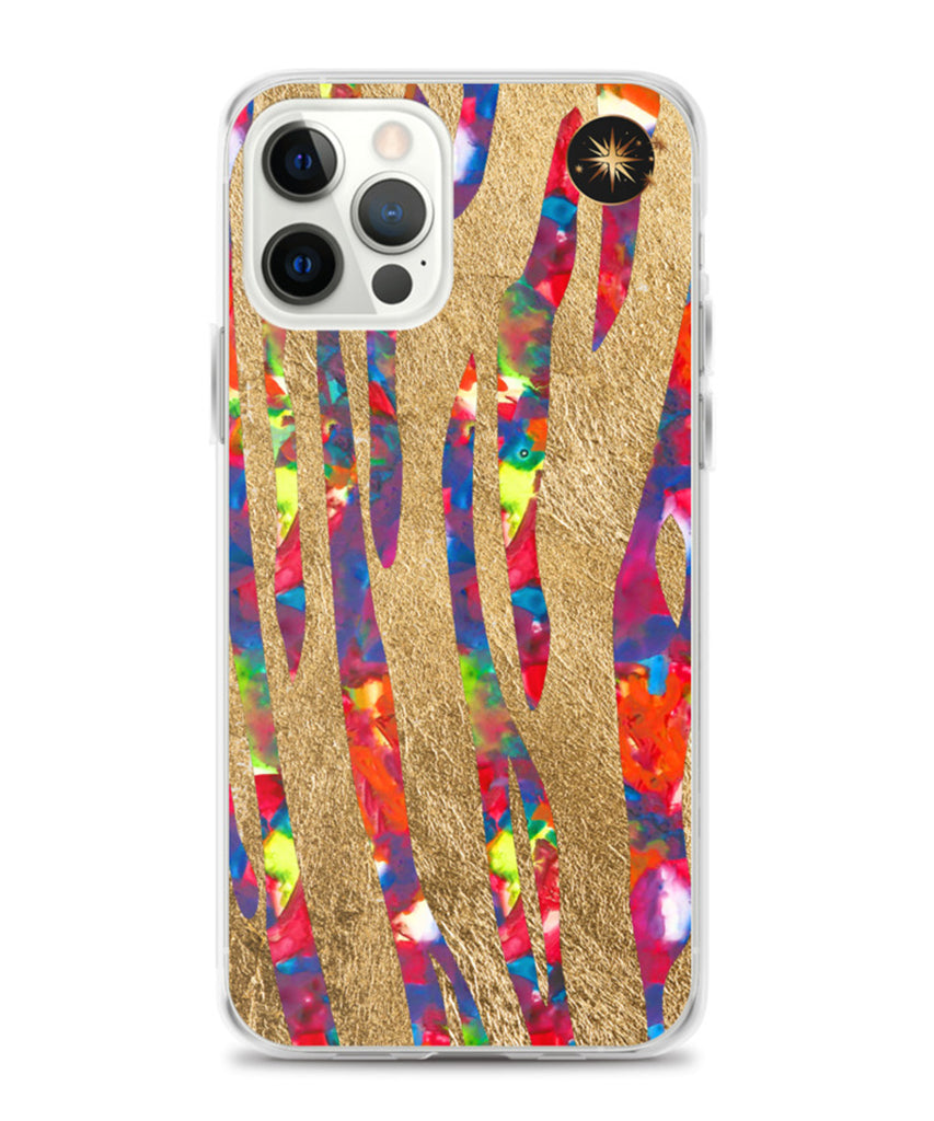 Tiger Phone Case with Opal & Gold Leaf