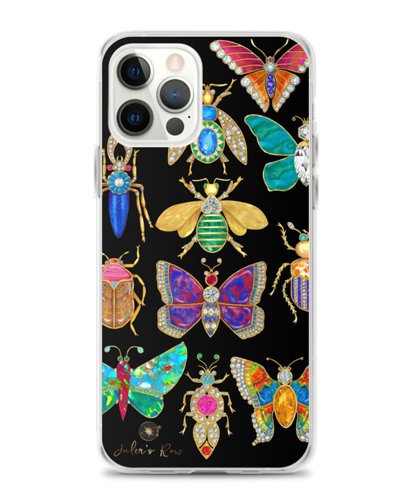 Butterfly & Bug on Black Brooch Phone Case