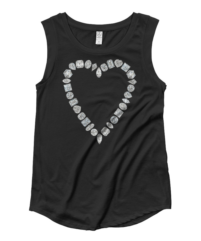 Diamond Heart Cap Sleeve Tee