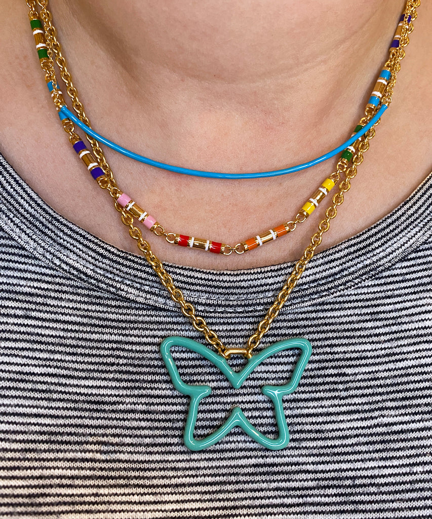 Enameled Butterfly Necklace