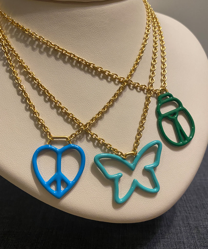Enameled Love & Peace Necklace