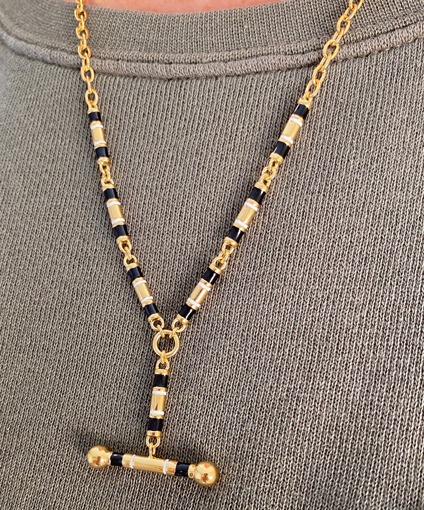 """Y"" Necklace with Enamel Barrel Links"