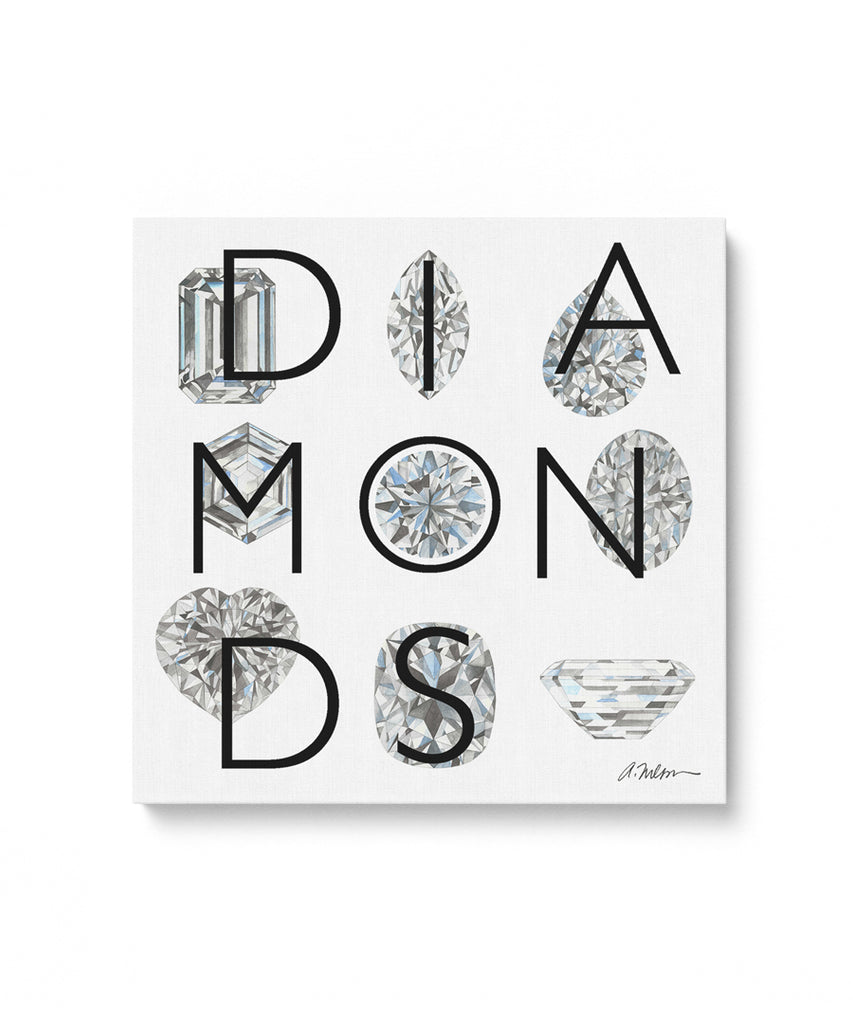 Diamonds Series I Watercolor Rendering printed on Canvas