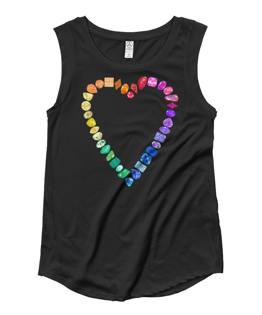 Rainbow Gemstone Heart Cap Sleeve Tee
