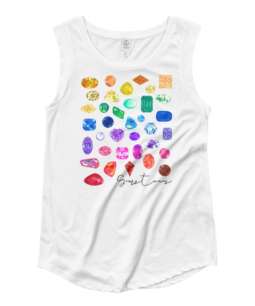 Rainbow Gemstones Cap Sleeve Tee