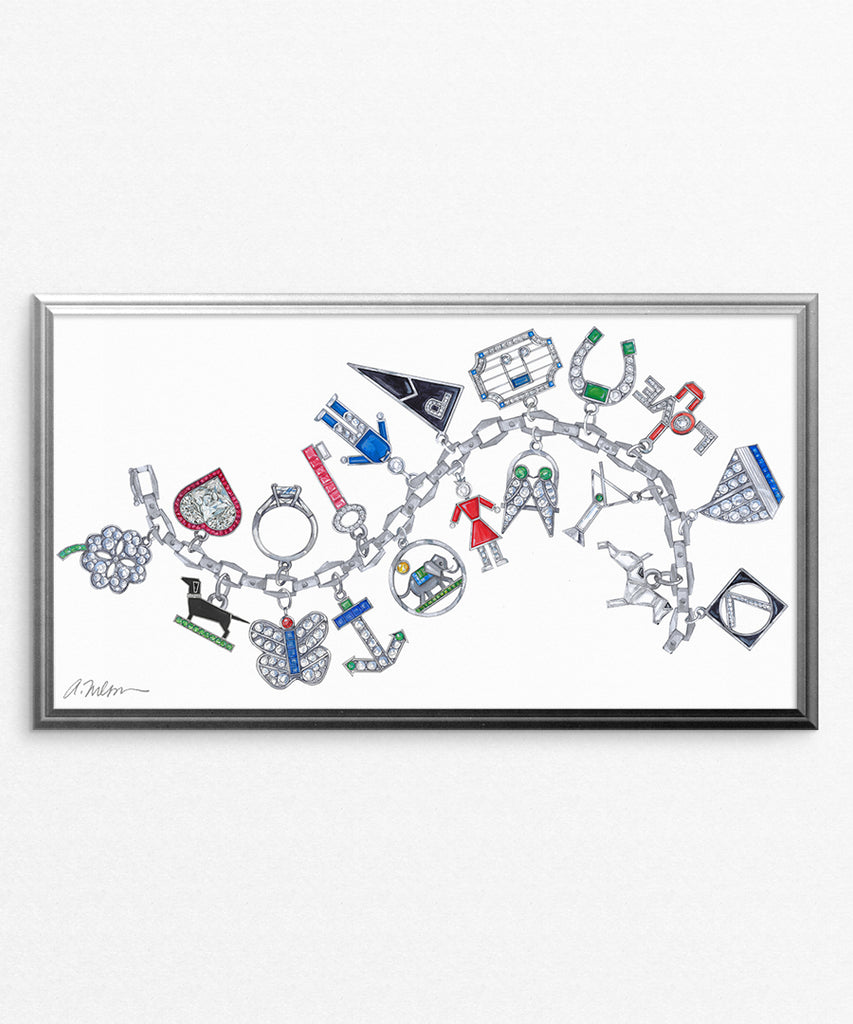 Art Deco Charm Bracelet Watercolor Rendering printed on Paper